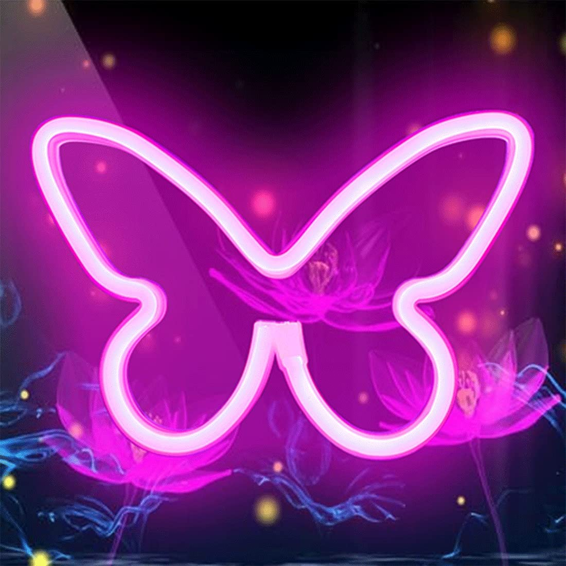 Malgero Butterfly Neon Signs Pink Lights for Wall Hanging, USB or Battery Night Light for Dorm Living Rome Home Bedroom,Cute Decor for Christmas Birthday Party Kawaii Gift for Girls,Kids,Mom
