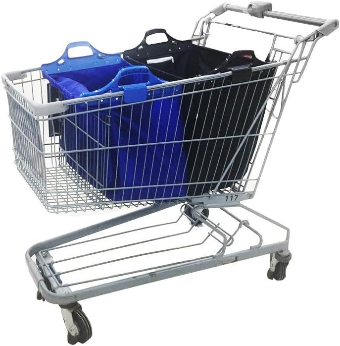 VAIIGO Bolsas de la compra reutilizables, Bolsa para carro de compras, bolsa de compras Apto para todos los carritos de compras actuales (paquete de 2) Azul/Negro