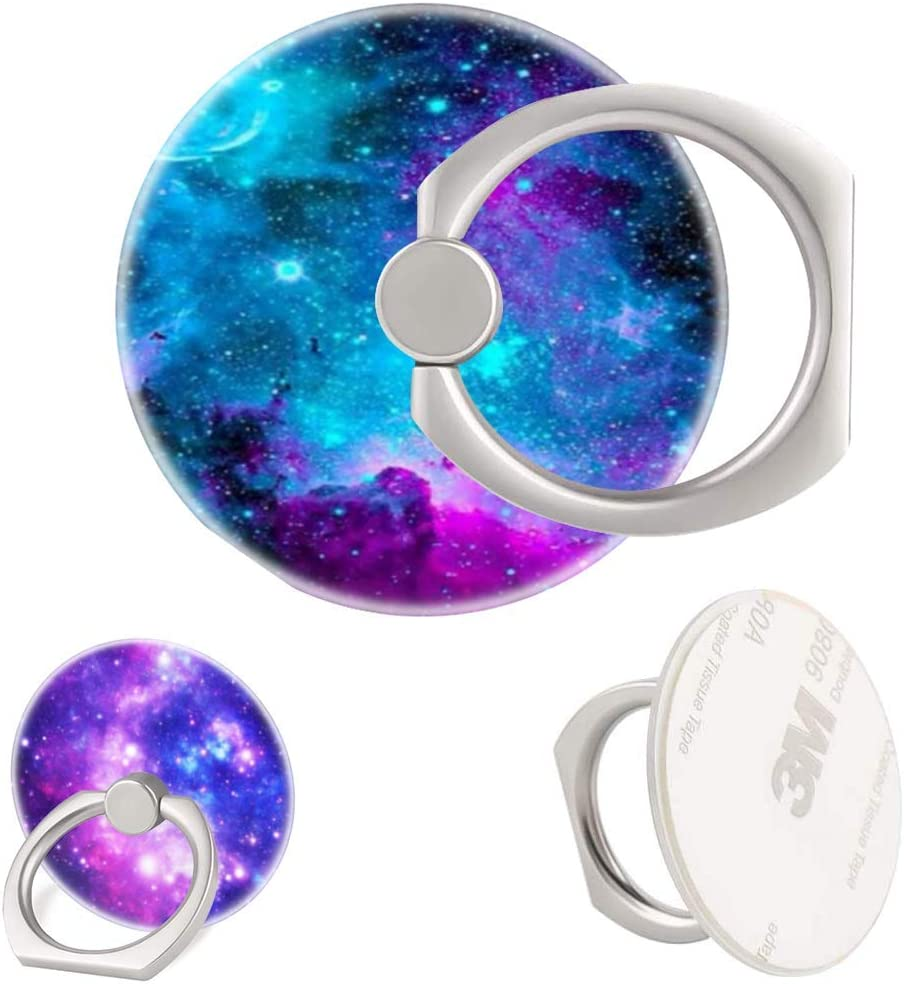 3 Pack//Purple Blue Galaxy Cell Phone Ring Holder 360 Degree Finger Ring Stand for Smartphone Tablet
