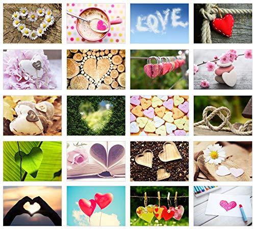 Edition Seidel Set 20 Premium Postkarten zur Hochzeit - Hochzeitsgeschenk - Liebe + Herzen – Dekoidee – Valentinstag - Geburtstag - Danke - Postkarte