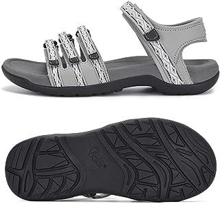 صندل نسائي للمشي لمسافات طويلة من Viakix - حذاء رياضي مريح وعصري للمشي في الهواء الطلق والرحلات المائية، رمادي 7