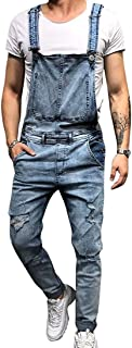 HaiDean Men's Summer Jeans Denim Overalls Short Short Modern Casual Overalls Or Long Jumpsuit Destroyed Ripped Latzshorts
