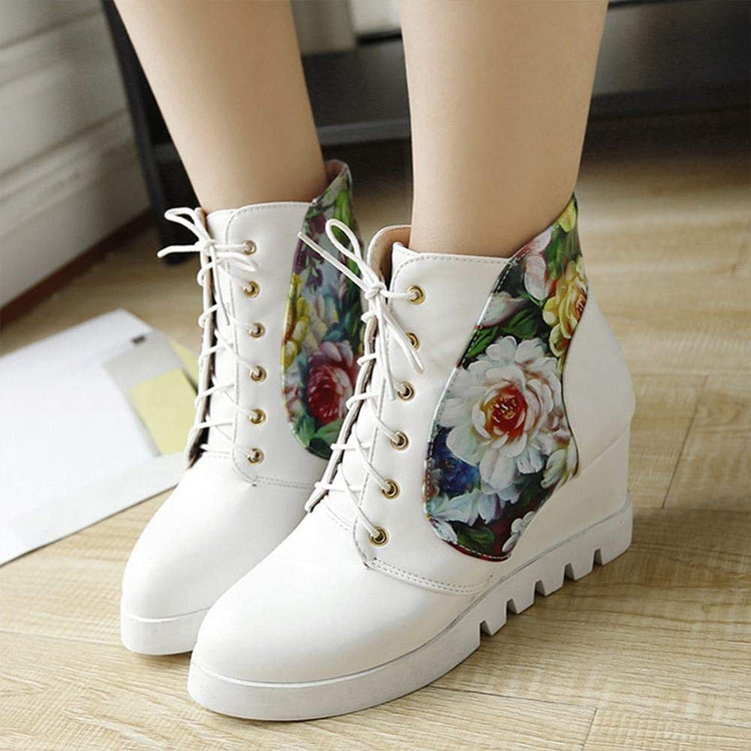 Women's shoes - Tie up Inside The High High shoes Casual Flat Boots Sweet Student shoes 35-43