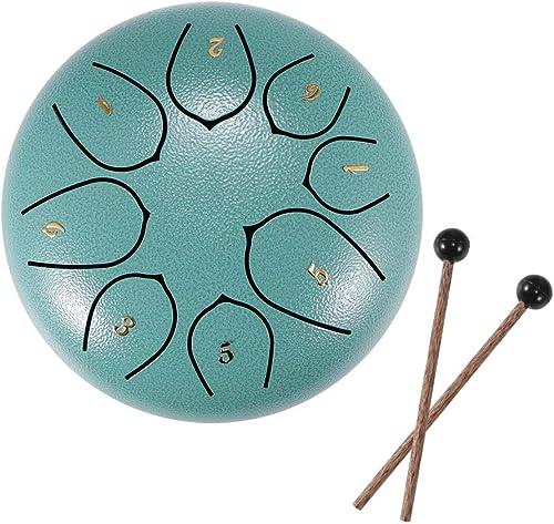 Tambores de hendidura, tambor de lengüeta de acero, tecla D de 6 pulgadas y 8 tonos, tambor Handpan con baquetas, bol...