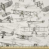ABAKUHAUS Flugzeug Satin Stoff als Meterware, Old School
