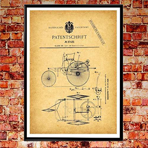 WallBuddy Mercedes Benz Auto-Poster, Motiv: Erstes Auto, 50 cm x 70 cm, Vintage-Design