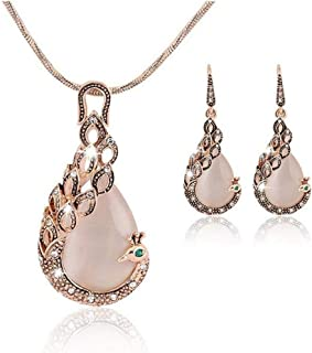 Flyme 1 Set Fashion Necklace Earring Set Elegant Lady Jewelry Shiny Crystal Peacock Pendant Necklace + Earrings Stocking Filler(Rose Gold)
