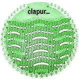 clapur Urinal-Sieb (2x) Duft Gurke-Melone, Spritzschutz fürs Männer WC, für jedes Pissoir, Urinal-Einlage, Lufterfrischer, Kunststoff-Matte, rund, grün