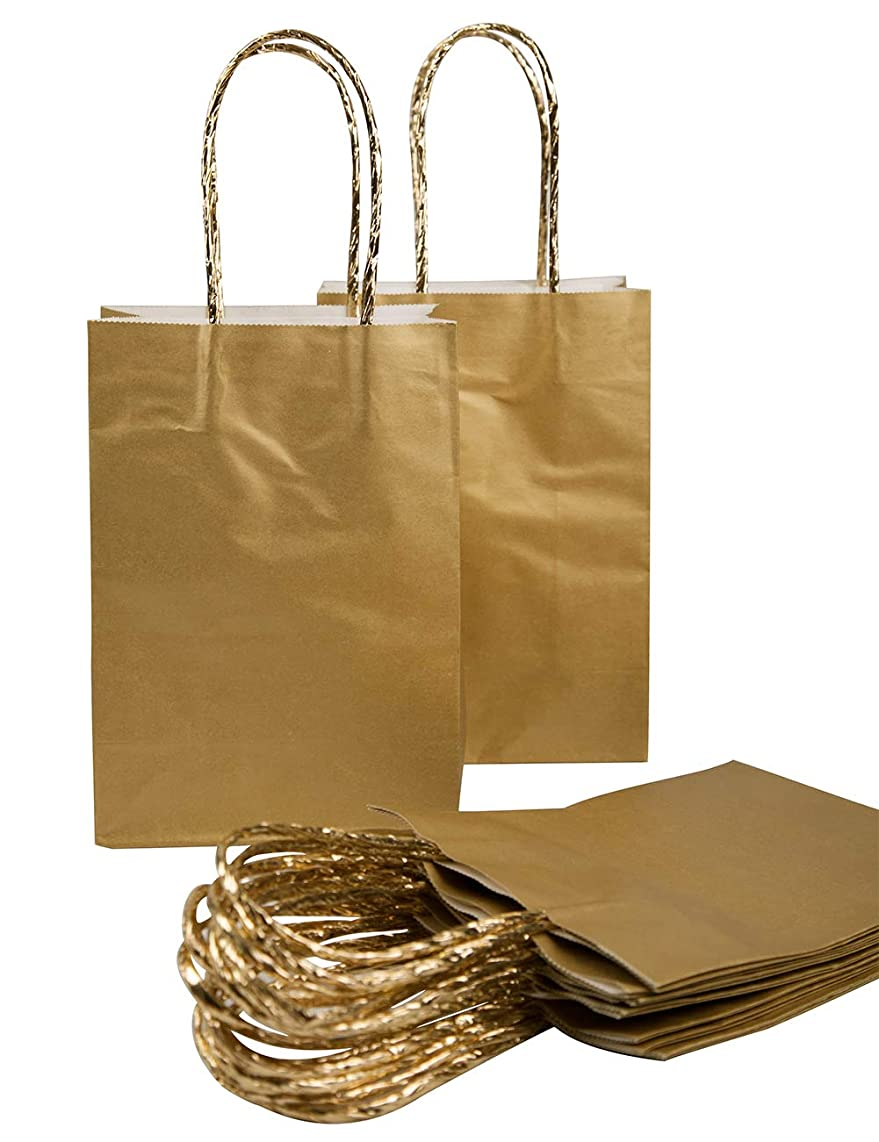 20pcs Paper Gift Bags with Rope Handles Small Gold Wrapping Bag for Birthday Party Wedding Graduation Baby Shower Christmas Shopping Favor Decorations, 7.7