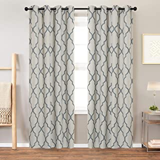Vangao Linen Textured Curtians Print Morrocan Tile Quatrefoil Flax Room Darkning Drapes for Bedroom and Living Room,2 Panels,Gray On Flax