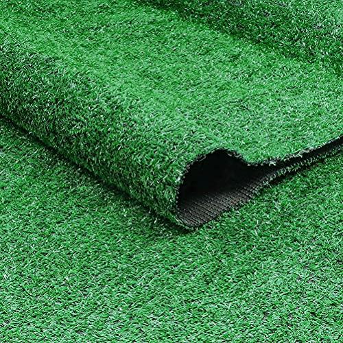 Tenwan Césped Artificial, Plastico Rollo Alfombra Cesped Artificial para Terraza Jardín Balcón con Orificios de Drenaje Alta Densidad Verde(1 * 2M)