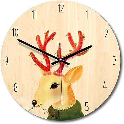 SHFISIKI 11 Inch Home Decoration Wooden Wall Clock Bedroom Mute Clocks Cartoon Cute Wall Watch Reloj