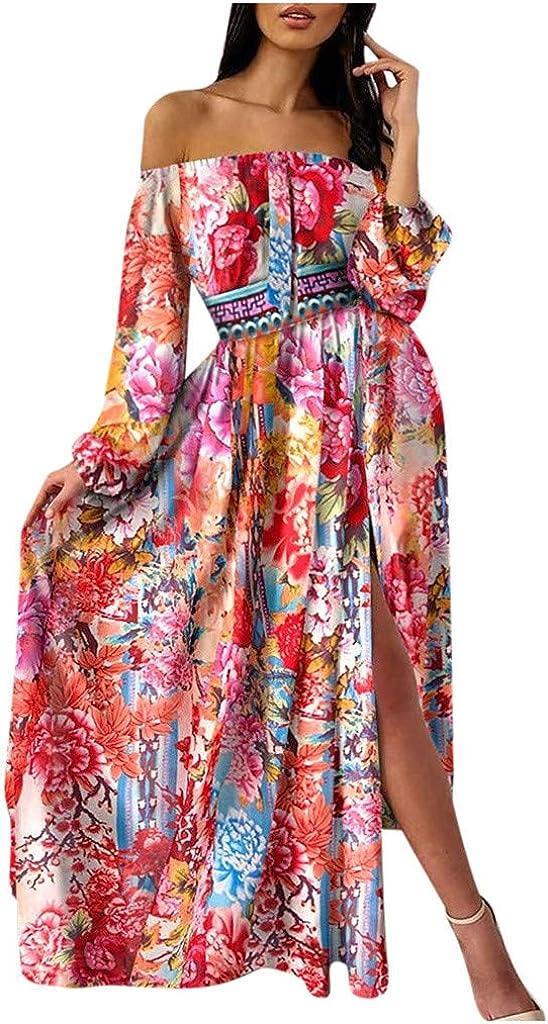 Memphis Mall VEZAD Women Off Shoulder Floral Sacramento Mall Print Dress Sleeve Maxi Long Cas