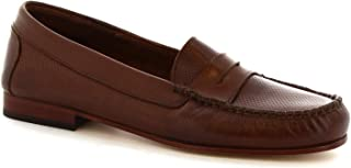 Leonardo Shoes Mocassini Artigianali Donna in Pelle Traforata Testa di Moro - Codice Modello: 2591 Vitello T. Moro