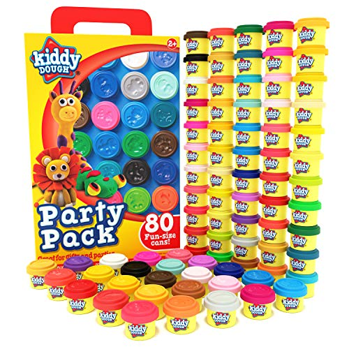 KIDDY DOUGH 80 Pack of Dough - School & Birthday Party Favors Bulk Clay Classpack - Includes Molded Animal Shaped Lids - Holiday Edition  (1oz Dough Tubs - 80oz Total) Gift for Kids
