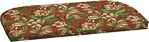 "Comfort Classics Inc. Outdoor Patio Settee Bench Cushion 49"" L x 20"" W x 2.25"" H. Polyester Fabric Red Tropical"