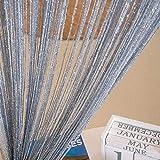NAttnJf Borde de Abalorios con borlas Cuerda Brillante Cortina Puerta Habitación Ventana Divisor Decoración del hogar Gray