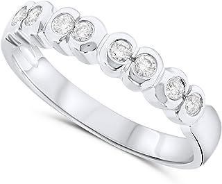 18k White Gold Diamond Kissing Half Bezel Band Ring
