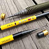 YMYGCC Caña de Pescar 3,6/4,5/5,4/6,3/7,2 Metros Corriente de Mano de Poste de Fibra de Carbono de fundición telescópica cañas de Pescar Pescado trastos (Color : Yellow, Length : 6.3 m)
