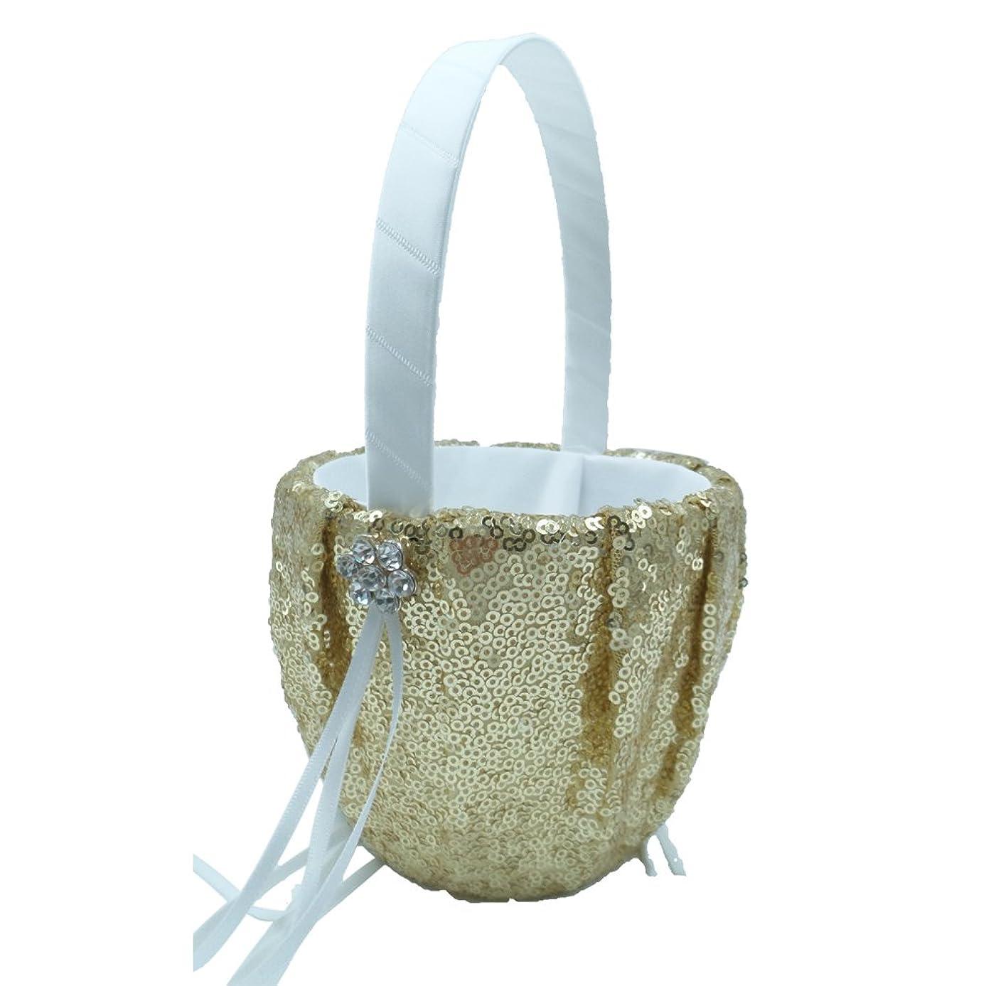Abbie Home Sequin Glitter Wedding Flower Basket Rhinestone Décor Wedding Party Favor (Gold Basket)