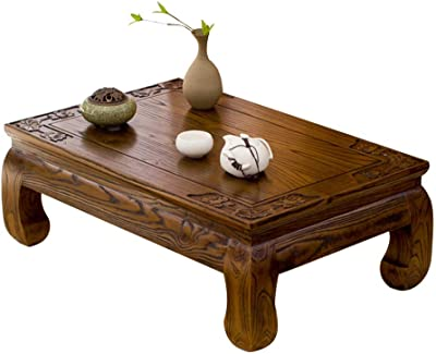 Coffee Table Solid Wood Tatami Coffee Table Antique Bay Window Table Old elm Zen Low Table Tables (Color : Brown, Size : 50 * 40 * 25cm)