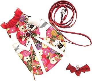 FLAdorepet 3Pcs Reflective Dog Dress Harness Leash Set Puppy Hair Bow Clips Small Medium Dog Kimono Clothes Shirt Costume for Bulldog Chihuahua S-3XL