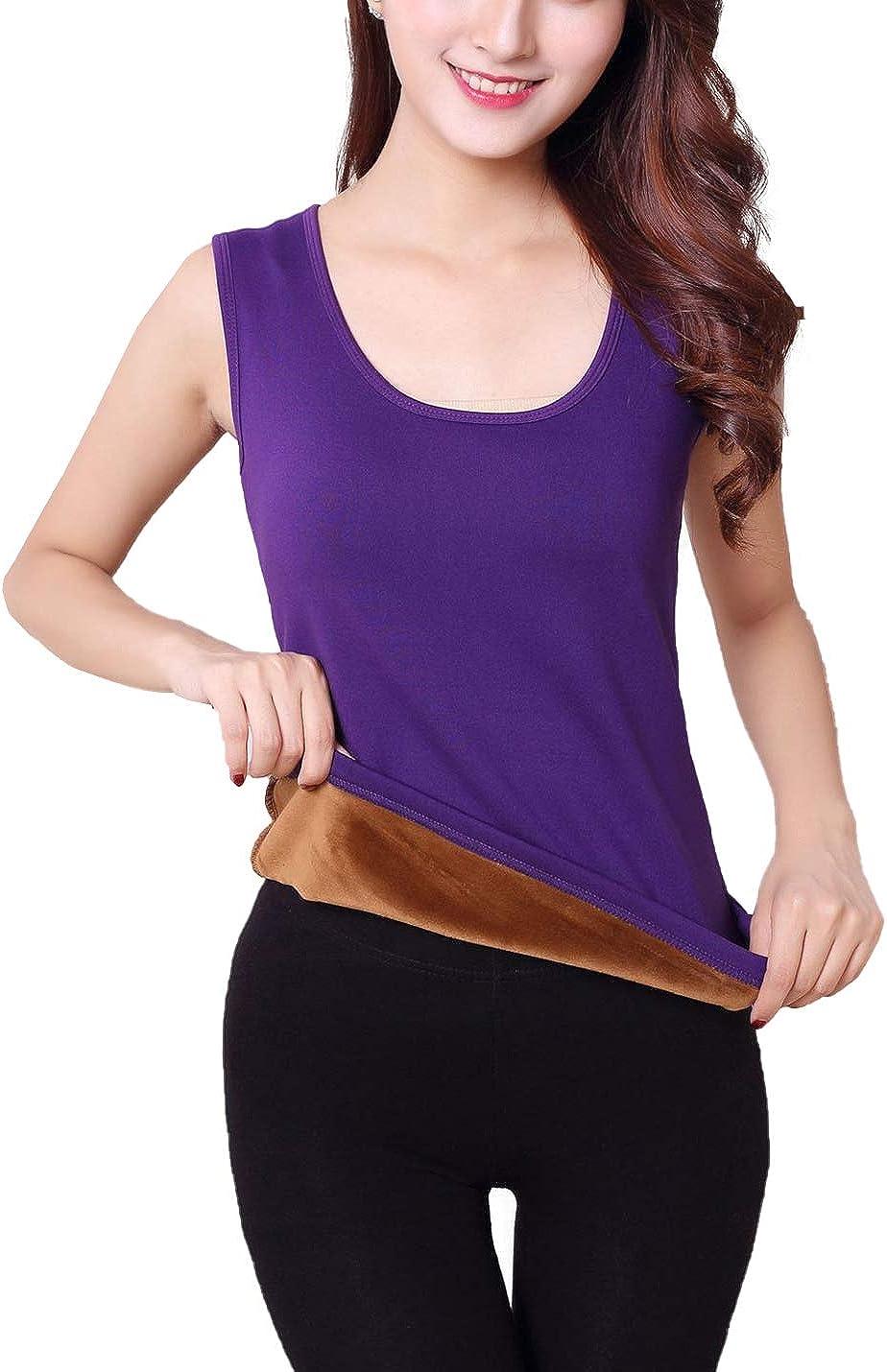 Flygo Women's Cotton Thermal Fleece Lined Underwear Shirt Cami Tank Top Vest