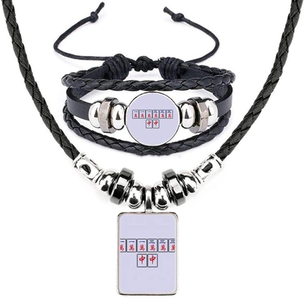 Winning Superior Suit Mahjong Tiles Leather Necklace Bracelet New arrival Set Jewelry