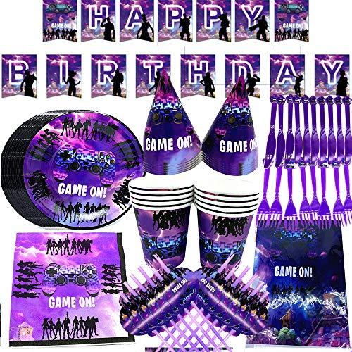 BESLIME Game Party Supplies Vajilla para Fiestas Diseño Incluye pancartas, Platos, Tazas, servilletas, Gorro, Cuchara, Tenedores y Cuchillos Video Gaming Party Supplies