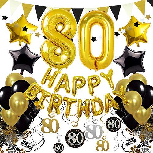 Zerodeco Schwarz Gold 80. Geburtstag Dekoration, Happy Birthday 80. Nummer und Sternförmige Folienballons, Hängende Strudel Dreieckige Wimpel Stern Ornamente Geburtstag Konfetti Party Zubehör Set