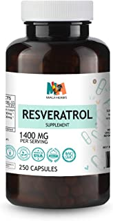 Resveratrol 250 Capsules, 1400mg Per Serving, Max Strength, Antioxidant Supplement Extract
