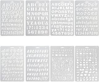 Jayfans Lot de 8/pochoirs en plastique avec alphabet et chiffres Pour journal//agenda//bloc-notes//scrapbook//projets dartisanat 8 Pcs Drawing Painting Stencils Scale Template