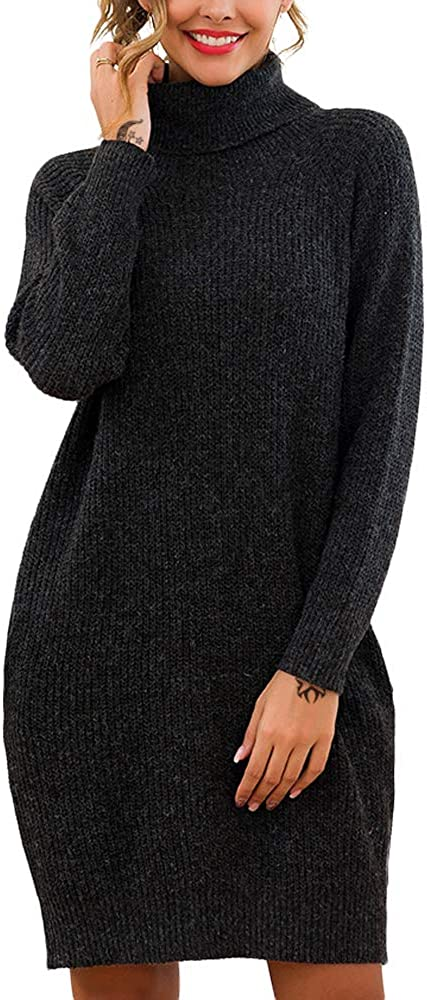 EXLURA Women's Oversized Turtleneck Long Sleeve Sweater Dresses Casual Loose Knit Pullover Dress with Pockets