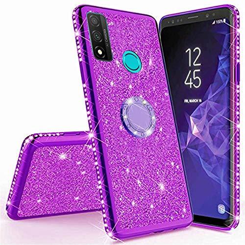 Miagon Hülle Glitzer für Huawei P Smart 2020,Glänzend Mädchen Frauen Weich Silikon Handyhülle mit Strass Diamant 360 Grad Ständer Schutzhülle Etui Cover