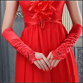 Women Fingerless Lace Sequins Satin Bridal Party Gloves for Wedding Opera Party,Red