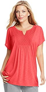 Just My Size Short-Sleeve Slub-Jersey Women`s Tunic with Split V-Neck Crochet Bib Yoke