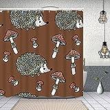 YANAIX Cortina Ducha Impermeable,patrón de otoño sin Costuras erizos Setas Lindo,Impresión de Cortinas baño con 12 Ganchos 180x180cm