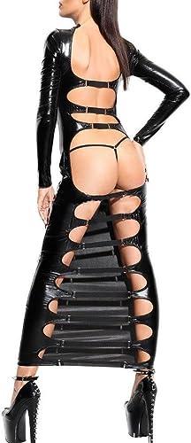 SASA Femmes Faux Cuir Body érougeique Wetlook Ceinture de Faisceaux Bodycon Fetish Entrejambe Ouverte Taille Plus, 2XL