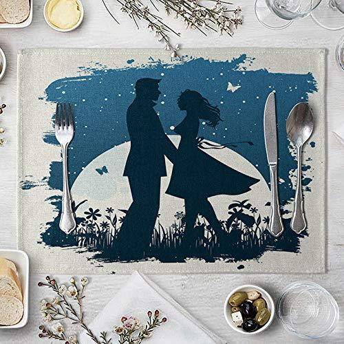 Daesar Mantel Individual de Tela Lavable Azul Blanco Manteles Individuales 30x40 cm,Manteles Individuales Juego 2 Parejas y Luna