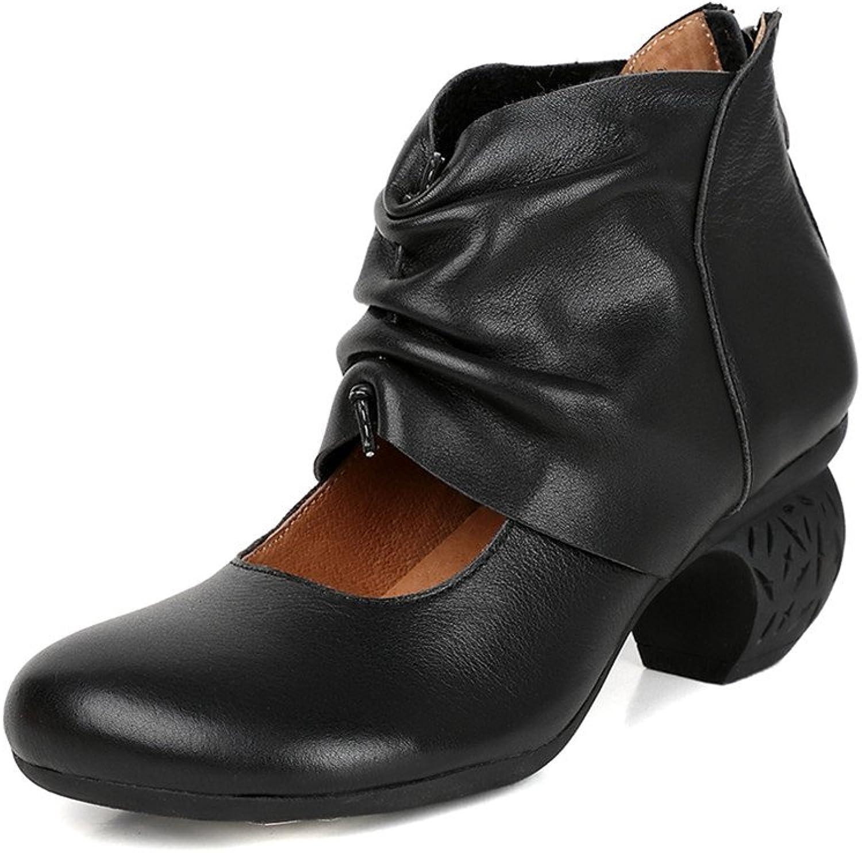 2017 Nya dvärgar Retro läder svart skor for Office Office Office Ladies Chunky klackar Back Zipper  mode galleria