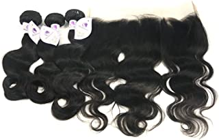 10A Grade Brazilian Body Wave Virgin Hair Bundles with 13×4 Ear to Ear Lace Frontal 100% Unprocessed Human Hair (14 16 18 with 14 Frontal)