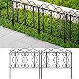 Amagabeli Decorative Garden Fence 24' high x 24' Wide 5 Panels in Total Outdoor Black Thicken Metal Wire Fencing Rustproof Landscape Patio Flower Bed Animal Dogs Barrier Border Edge Section Panels