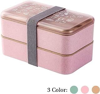 Fiambrera Bento Box 2 niveles BPA Gratis con cubiertos reutilizables Caja de Almuerzo de estilo japonés para microondas Congelador Lavaplatos Lunch Box para niños Adultos (Rosado)
