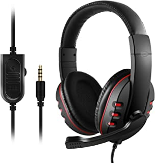 3.5mm Wired Gaming Headphones Over Ear Game Headset Noise Canceling Earphone with microphone Volume Control for PC Laptop ...