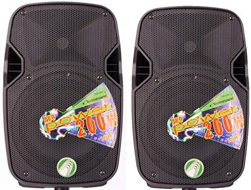 Technosound TK08A coppia casse attive amplificate woofer 8 pollici 200w di picco per feste, pianobar, karaoke