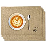 KONUNUS 4 Pieces Placemats Waterproof Placemats Heat-Resistant Placemats Coffee Placemats Linen Square Coaster Burlap Coffee Bar Mat for Dining Table