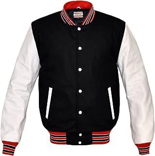 Superb Genuine White Leather Sleeve Letterman College Varsity Men Wool Jackets