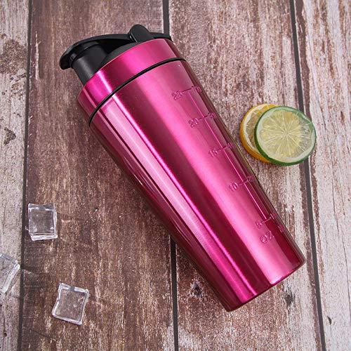 Jusemoa - Botella de agua de acero inoxidable con escala para deportes al aire libre (960 ml), color rosa
