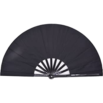 Amajiji Large Folding Fan, Chinease/Japanese Folding Nylon-Cloth Hand Fan, Women Hand Folding Fans Hand Fan Gift fan Craft fan Folding Fan Dance Fan (Black)
