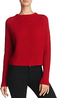 JOHN & JENN Womens Cherry Red Lace-Up Back Crew Neck Pullover Acrylic Sweater Top M New